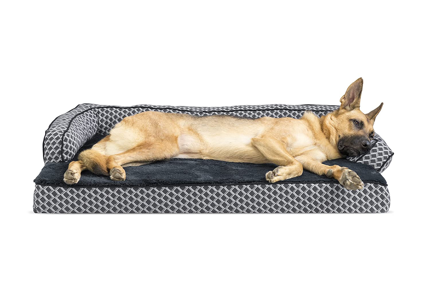 FurHaven Pet Dog Bed   Memory Foam Plush & Decor Comfy Couch Sofa-Style Pet Bed for Dogs & Cats, Diamond Grey, Jumbo
