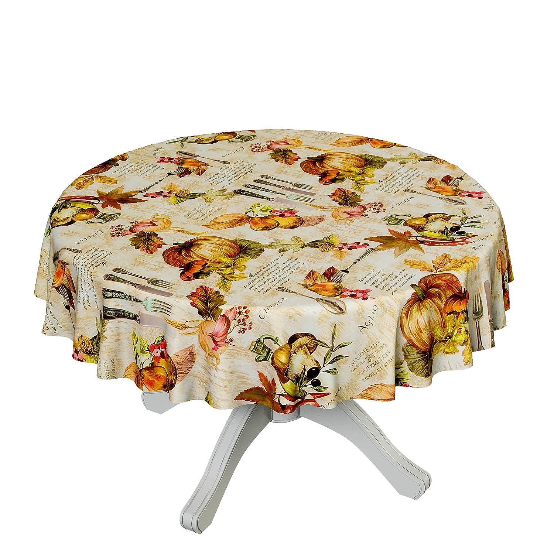 ANRO Tela cerata tovaglia cerata tovaglia lavabile posate Cipolla Olio d' oliva autunno rotondo 100cm, asciugamani, multicolore, Rund 100cm