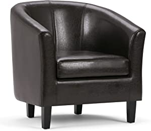 SIMPLIHOME Austin 30 inch Wide Transitional Tub Chair in Brown Faux Leather