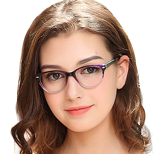 fd21103c5e1 OCCI CHIARI Fashion Optical Glasses Oval Acetate Eyewear Frame with Spring  Hinge and Clear Lens for