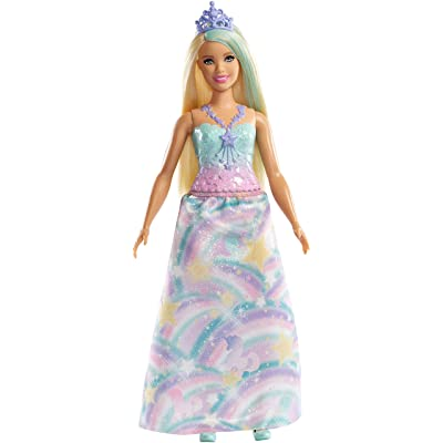 Barbie Dreamtopia Princess Doll, Approx 12-Inch Blonde with Blue Hairstreak Wearing Rainbow Outfit and Tiara, for 3 to 7 Year Olds​: Toys & Games