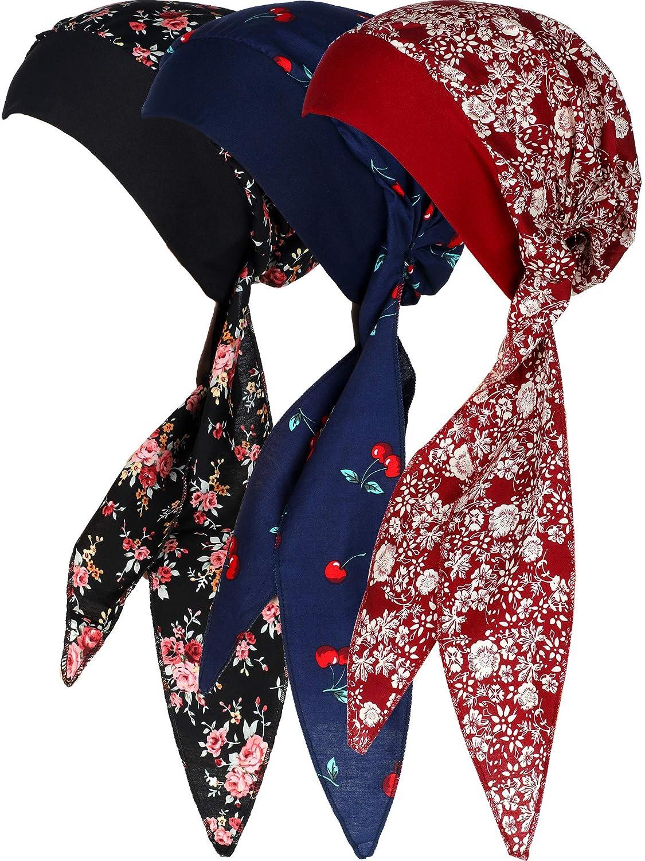 SATINIOR 3 St/ücke Damen Baumwolle Turbane Kopfbedeckung Pre Gebunden Hut Beanie Schal Gedruckt Head Wrap Bonnet Nacht Schlaf H/üte