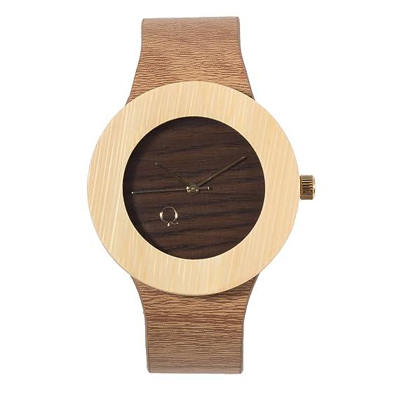 seQoya - Crooked | Reloj de Madera con Esfera de Madera y Correa de Piel ecológica simulando Madera Estampada | Reloj Hombre y Mujer | Diseño único y ...