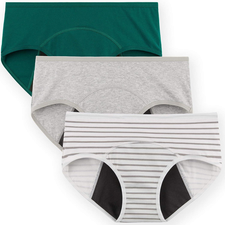 INNERSY - Braguitas de algodón para mujer, 3 unidades, antifugas, ropa interior lavable esmeralda/gris a rayas XXXL
