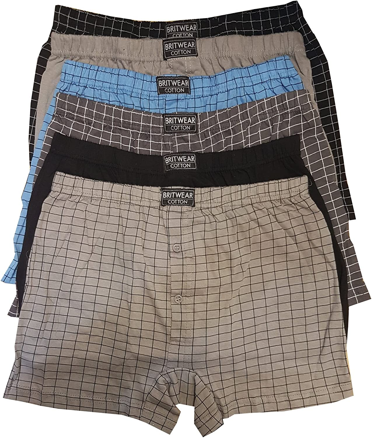 12 X Mens Button Fly Natural Cotton Jersey BOXER SHORTS TRUNKS LARGE SIZE WHITE