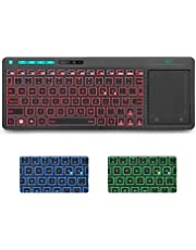 Rii K18 Plus 2.4G Wireless Keyboard with Touch Pad  Multimdeia RGB Backlit Keyboard Compatible with PC Laptop Linux Fire Stick  Windows 2000 XP Vista 7 8 10 UK layout