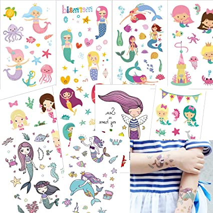 10 Hojas Sirena Tatuajes Temporales, Ouinne Falso Tatuajes ...
