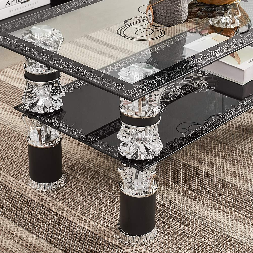 typle 2 HENBO Coffee Table Rectangle Tempered Glass Modern Clear Top Side Table with Lower Shelf Chrome and Metal Support Living room Guest Reception Room Table L110*W55*H45 CM Black