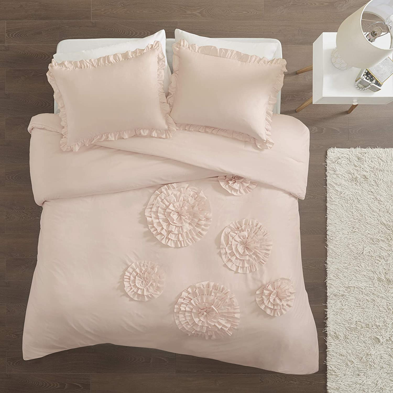 Intelligent Design Ella Comforter Reversible Embellished Flower Floral Botanical Ruffle Ultra-Soft Brushed Overfilled Down Alternative Hypoallergenic All Season Bedding-Set, Twin/Twin XL, Blush