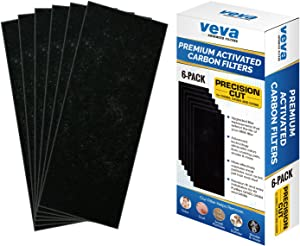 Full Size Premium Activated Carbon Pre Filter 6 Pack Compatible with HB Air Purifier 04383, 04383A, 04384 and 04386 for Pet, Smoke and Odor Eliminator, 100% Safe and Zeolite Free by VEVA