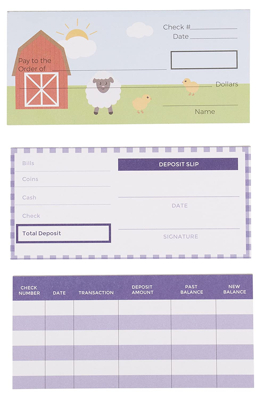 Kids Checkbook Set - Play Check Educational Toy - Financial Literacy for  Kids, Farm Animals Themed Design, Including Checkbook, Deposit Slip, Check