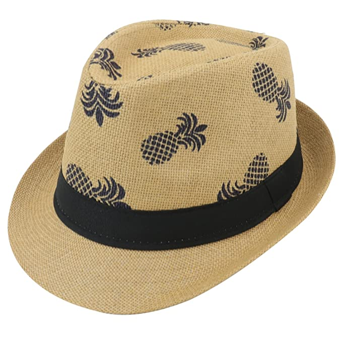 77d63e350b6 Armycrew novelty pineapple print paper straw summer fedora hat beige  clothing jpg 679x679 Summer armycrew paper