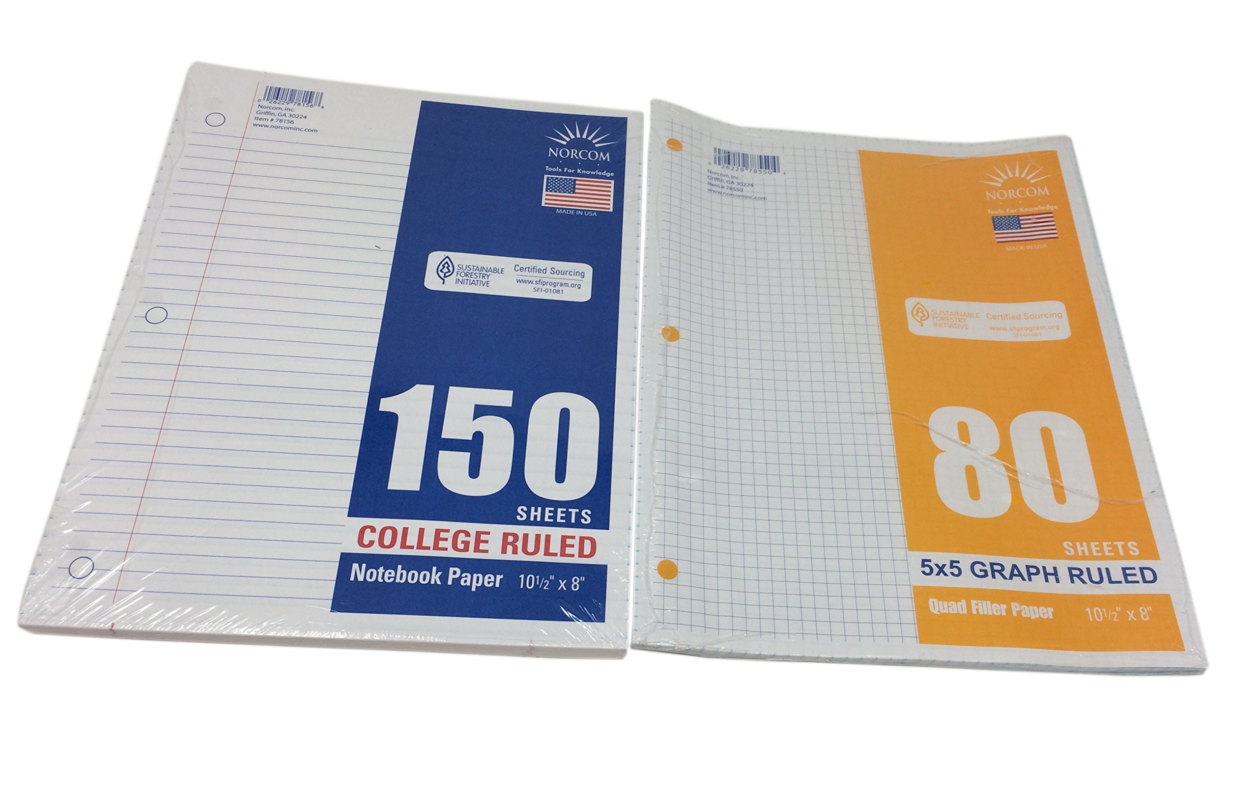 Norcom Loose-Leaf College Ruled Filler Notebook Paper and Graph Paper