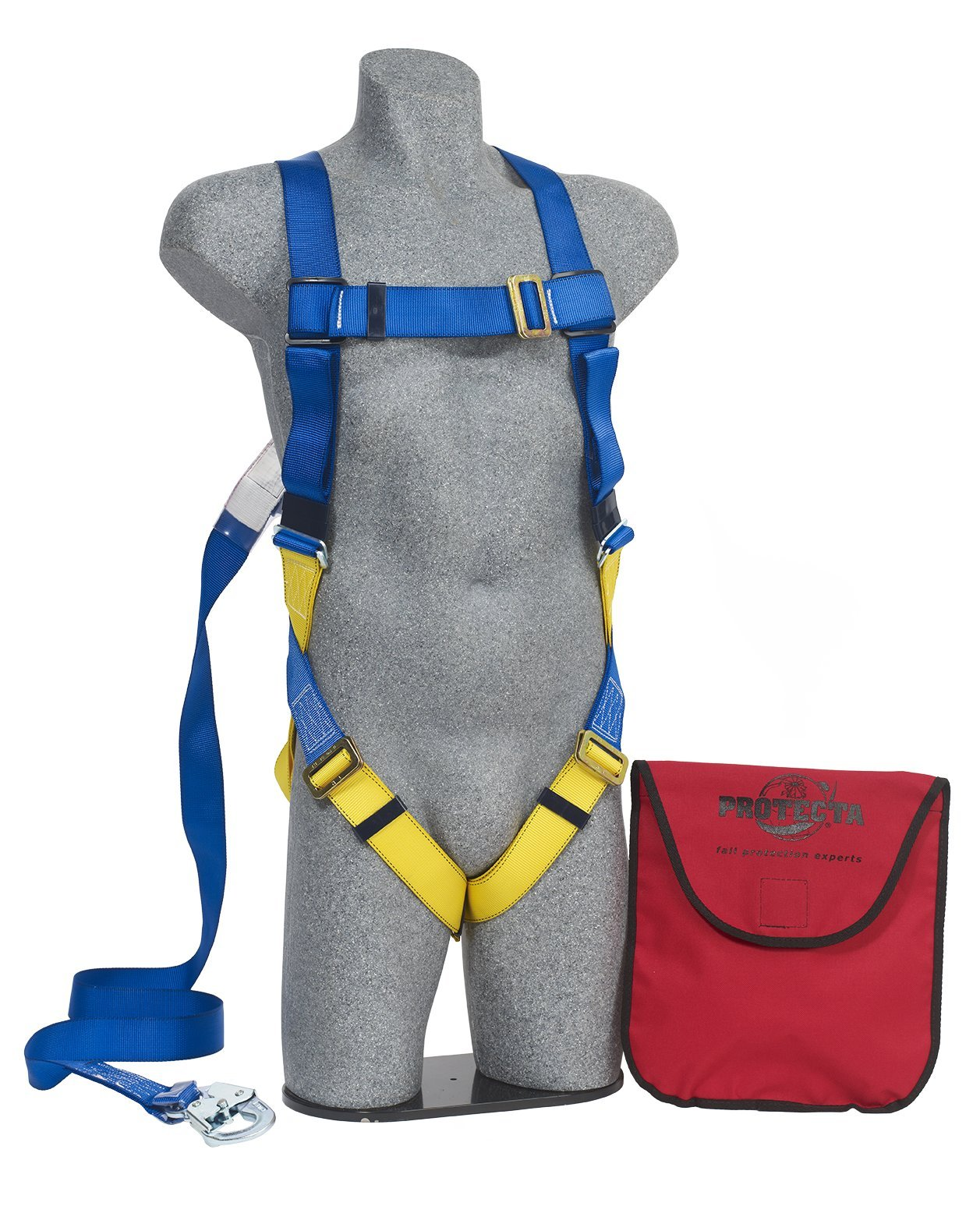 3M Protecta First AB17533 Kit, 5-Point Pass-Thru Leg Straps Harness, 6' Permanently Attached Lanyard W/Snap Hook, Carrying Bag, Univ, Blue/Yellow