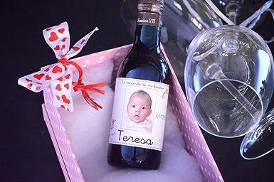 Botella personalizada vino para regalo bautizo foto cigüeña (pack de 12 botellas): Amazon.es: Alimentación y bebidas