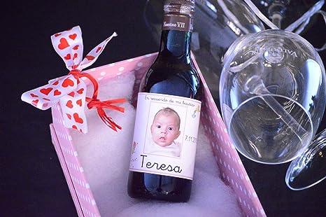 Botellas De Vino Para Regalar En Bautizos.Botella Personalizada Vino Para Regalo Bautizo Foto Ciguena Pack De 12 Botellas