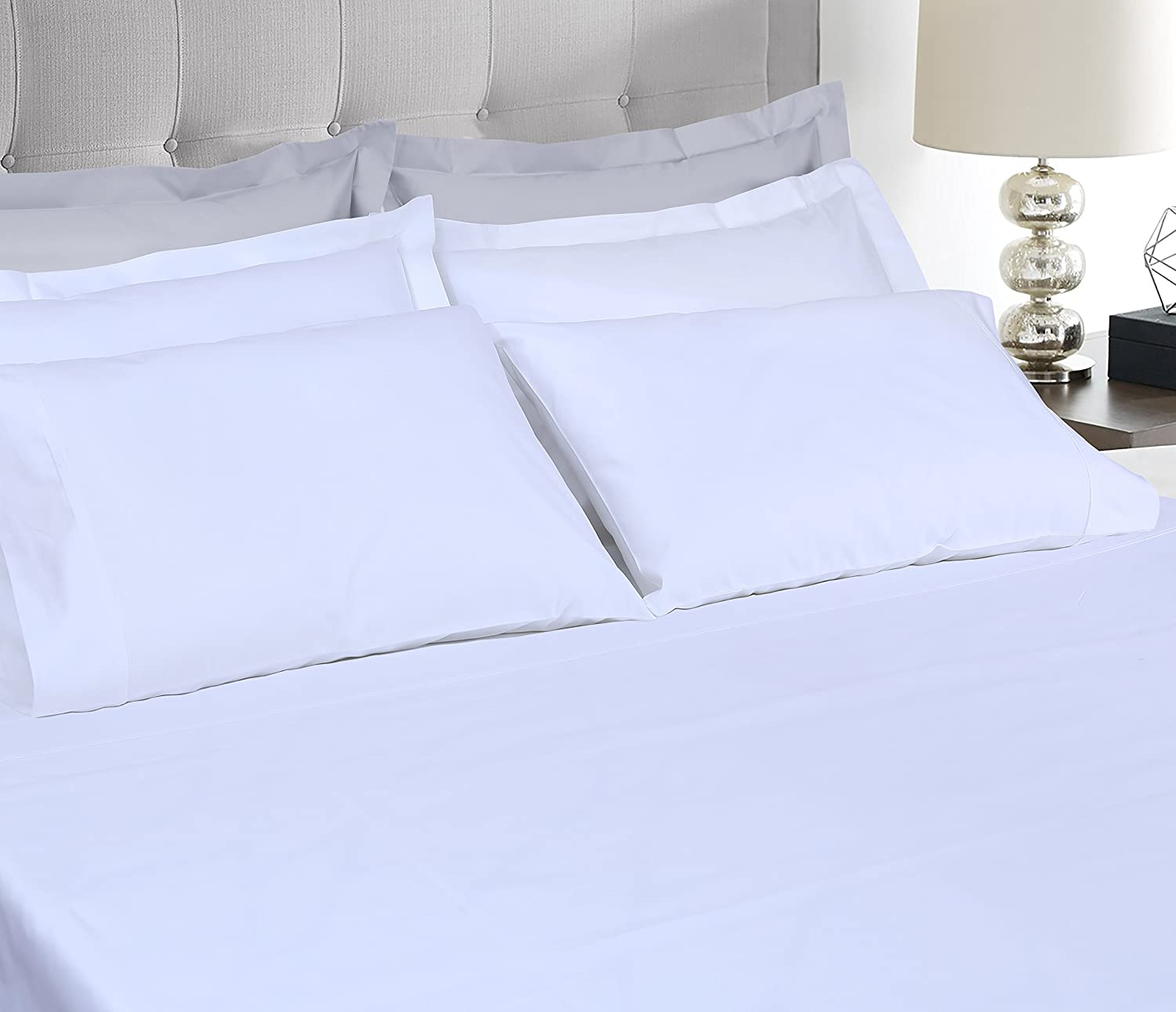 Threadmill Home Linen 400 Thread Count 100% Extra-Long Staple Cotton Sheets, Luxury Bedding, Queen Sheets 4 Piece Set, Smooth Sateen, White