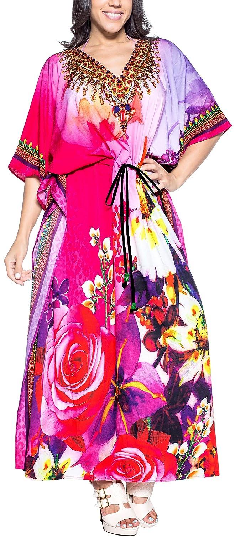 LA LEELA Femmes Longue Kaftan Tunique Kimono 3D HD Imprim/é Grande Taille Robe pour Loungewear Vacances V/êtement de Nuit Plage Tous Les Jours Haut Robes Maxi Caftan H