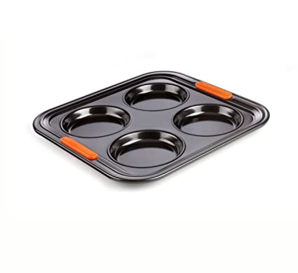 Le Creuset - Bandeja para 4 puddings Yorkshire de acero al carbono, color negro