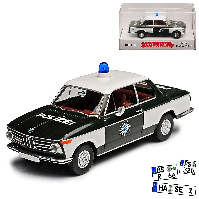 Unbekannt B-M-W 2002ti Coupe Polizei 1966-1977 H0 1//87 Wiking Modell Auto mit individiuellem Wunschkennzeichen