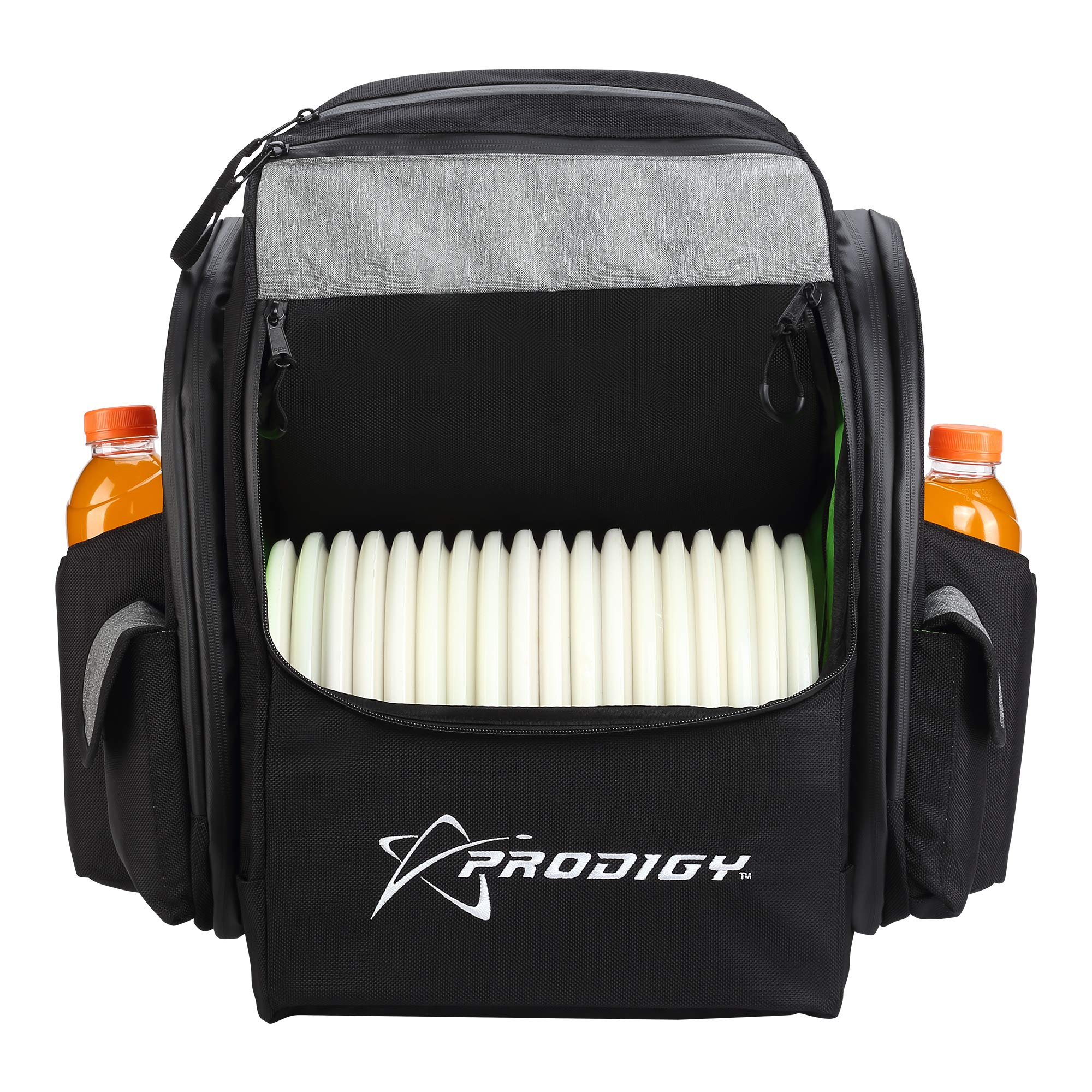 Prodigy Disc BP-1 V2 Disc Golf Backpack Bag - Fits 30+ Discs - Pro Quality (Black/Heather Gray, Rainfly) by Prodigy Disc