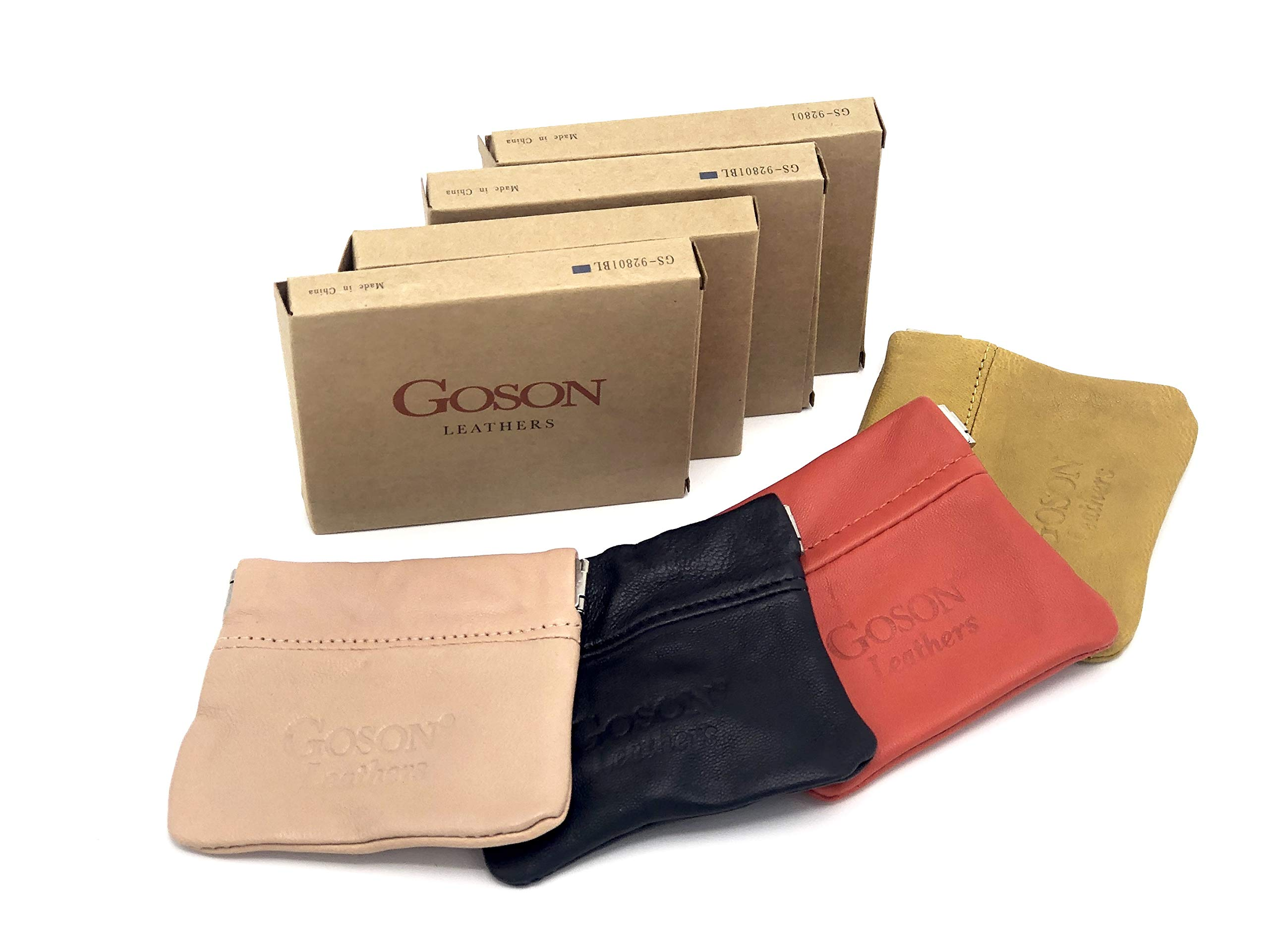 Goson Classic Leather Squeeze Coin Purse change Holder For Men and Women, Pouch size 3.25 in X 3.25 in (4 Pack - Peach, Navy Blue, Orange, Yellow)
