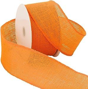 "Morex Ribbon Burlap Ribbon, 2.5"" x 10 Yd, Orange"