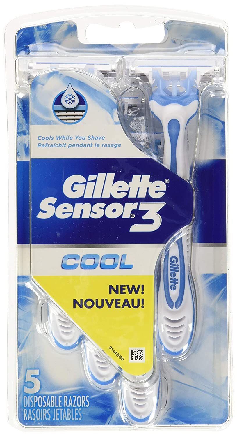 Gillette Sensor 3 Cool Men's 3-bladed Disposable Razor, 5 Count Procter and Gamble