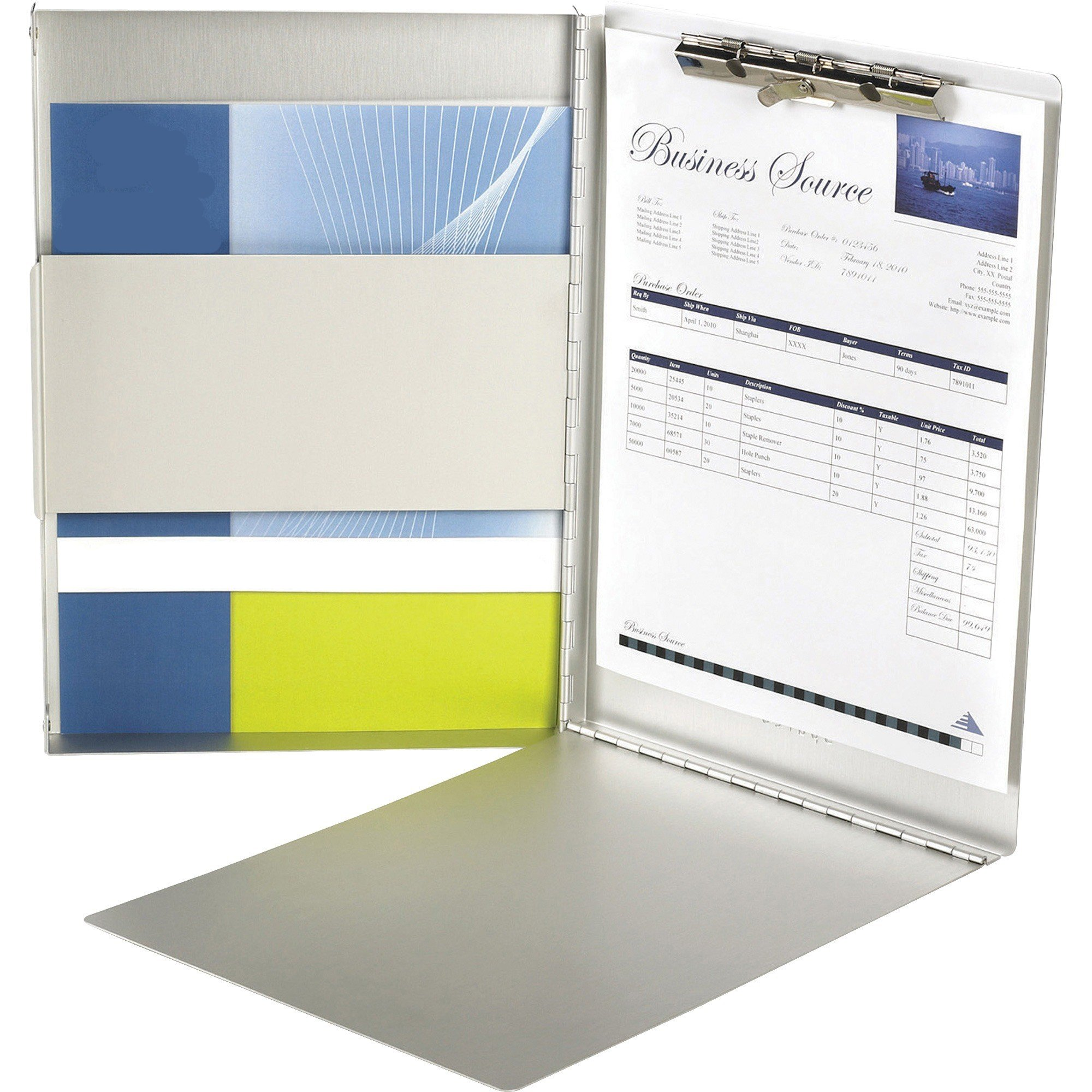 Form Holder - Aluminum Forms Holder - Interior Writing Plate With Sturdy Steel Clip - Side Opening