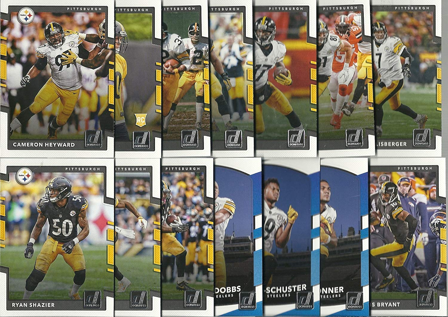 2017 & 2018 Panini Donruss Football Pittsburg Steelers 2 Team Set Lot Gift Pack 28 Cards W/Rookies