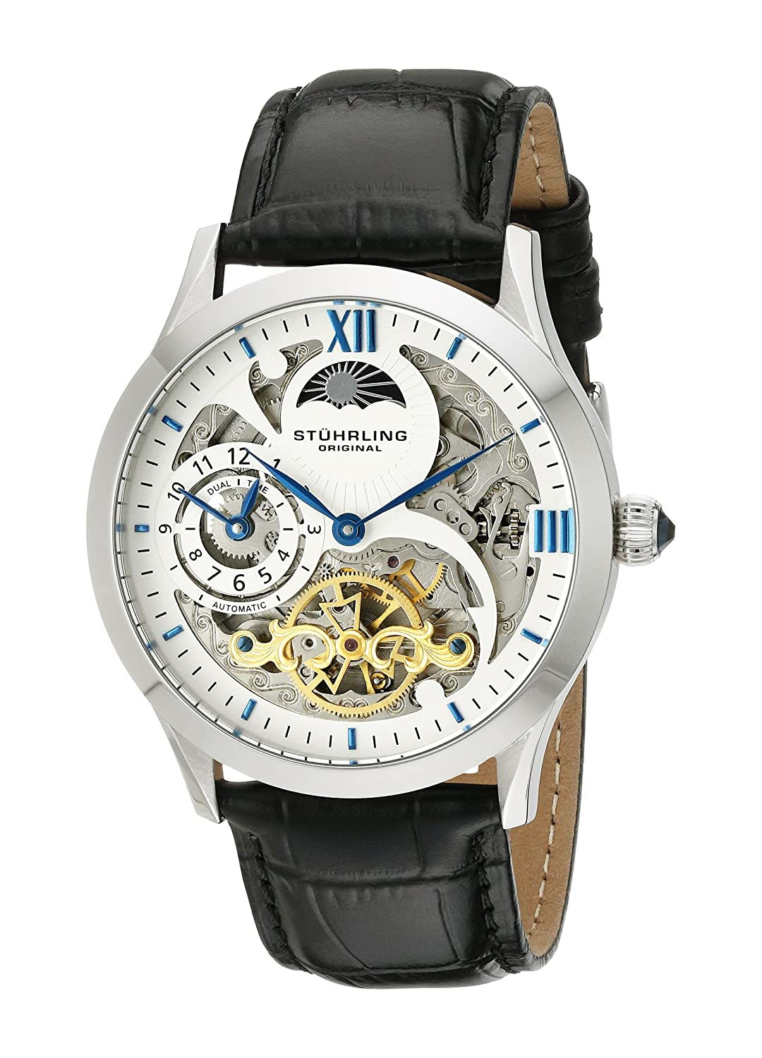 amazon com stuhrling original men s 571 33152 special reserve amazon com stuhrling original men s 571 33152 special reserve automatic skeleton watch black leather band watches