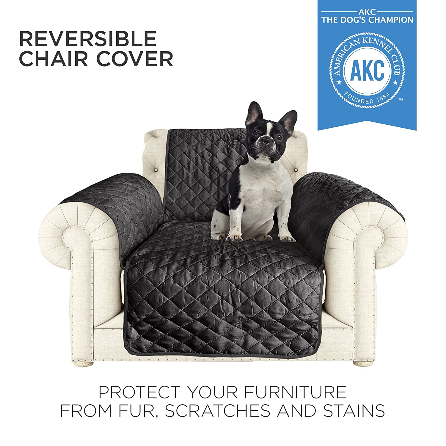 Amazon AKC Quilted Pet Chair Cover in Black Grey Home & Kitchen