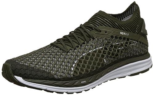 8472e21d5c4 Puma Men s Speed Ignite Netfit Olive Night White Running Shoes-12 UK India (
