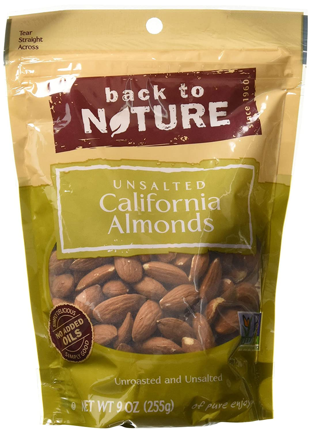 Back to Nature California Almonds Unroasted and Unsalted, 9 Ounce