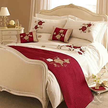Just Contempo Red Cream Luxury Duvet Cover Embroidered Cotton