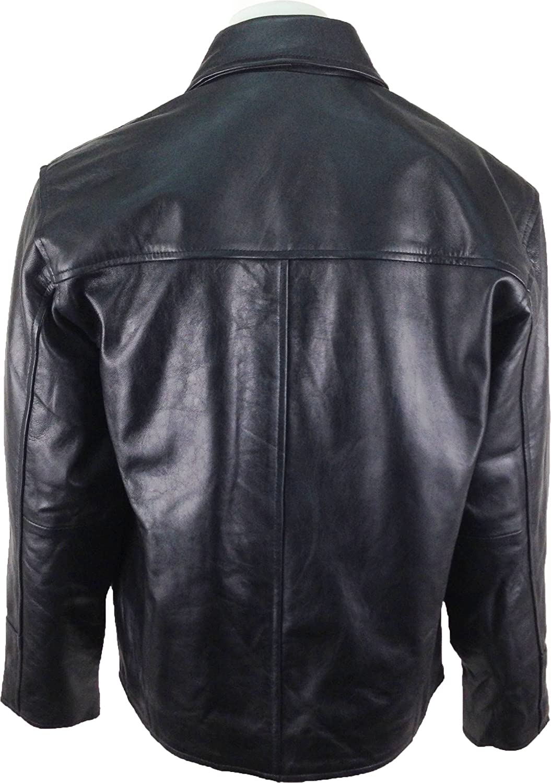 UNICORN Mens Shirt-look Real Leather Jacket Black #BI