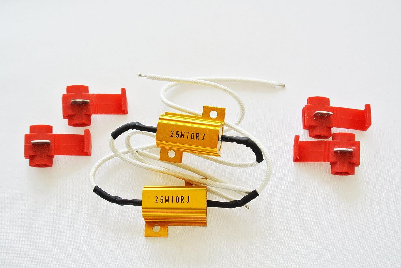2Pcs Load Resistor 25W 10Ohm Fix LED Bulb Hyper Flash Turn Signal Blinker