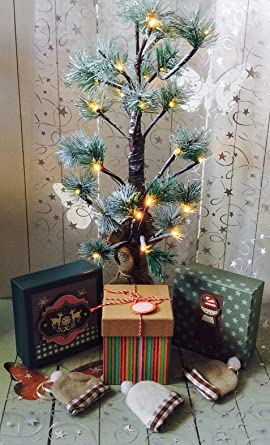 Weihnachtsbaum Baum Lichter 60cm Lichterbaum mit Schnee 24 Warmweiß LED Batteriebetrieben Tannenbaum Dekobaum Weihnachtsbeleu