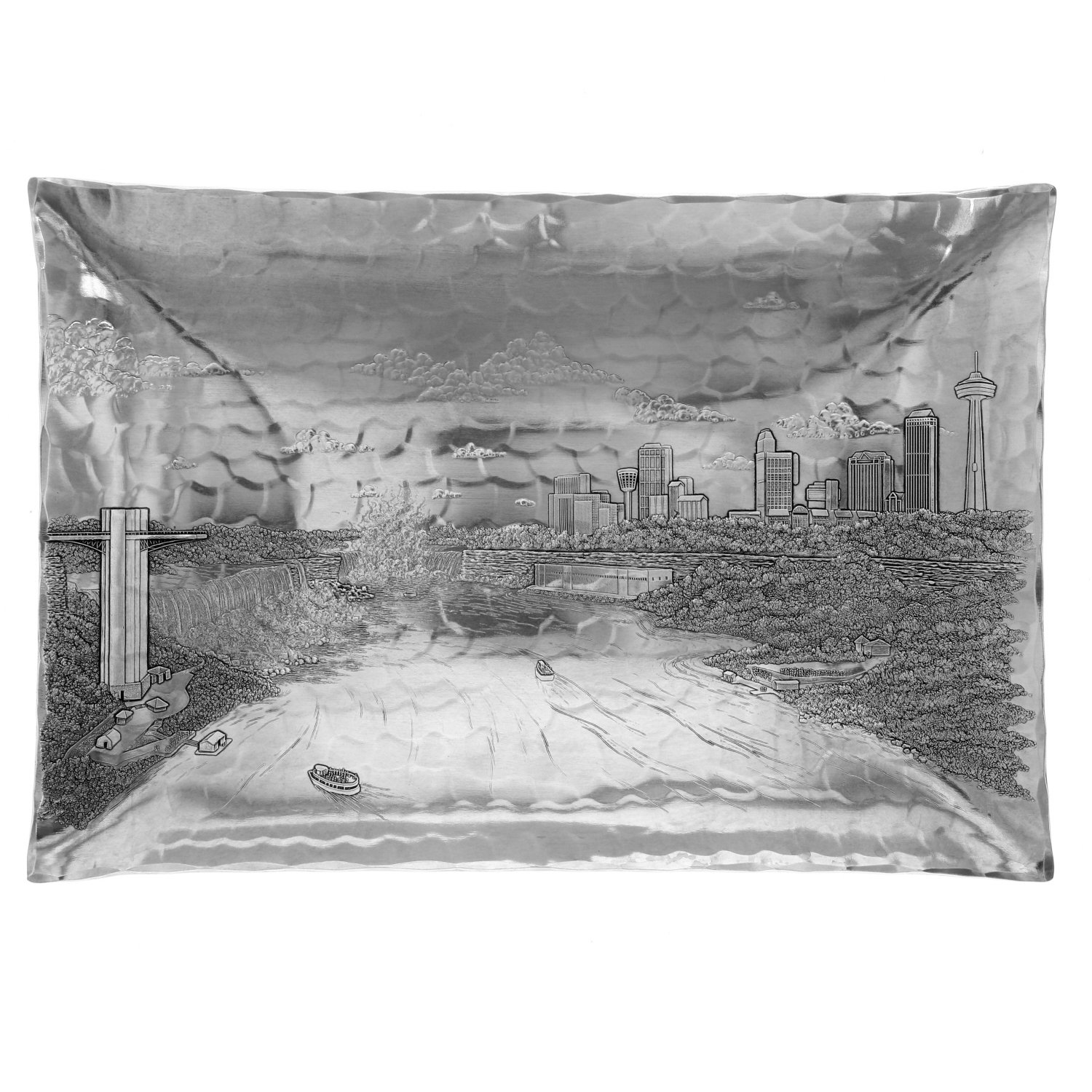 Wendell August Forge Niagra Falls Cityscape Rectangular Hudson Bowl by Wendell August (Image #1)