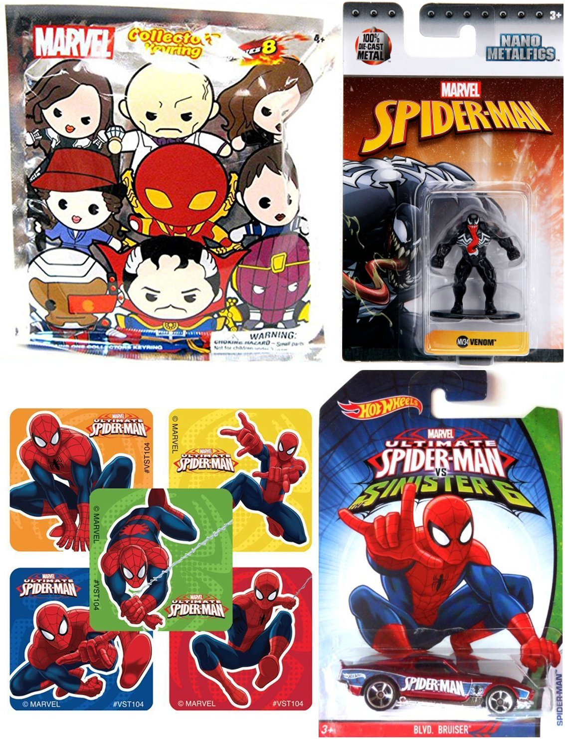 Ultimate Spider-Man Sinister 6 Hot Wheels Car /& Venom Mini Figure Die-Cast Metal NanoFig with Marvel Blind Bag Key Ring /& Bonus Stickers HWAYB