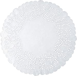 White Round Paper Lace Doilies (pack of 100) by The Baker Celebrations; Made in Canada (8-inch)