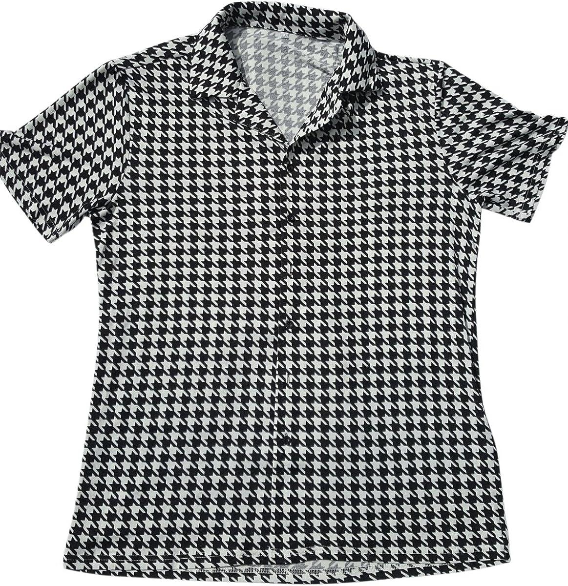 The Hank Shop Men's Houndstooth Shirt Bowling Shirt