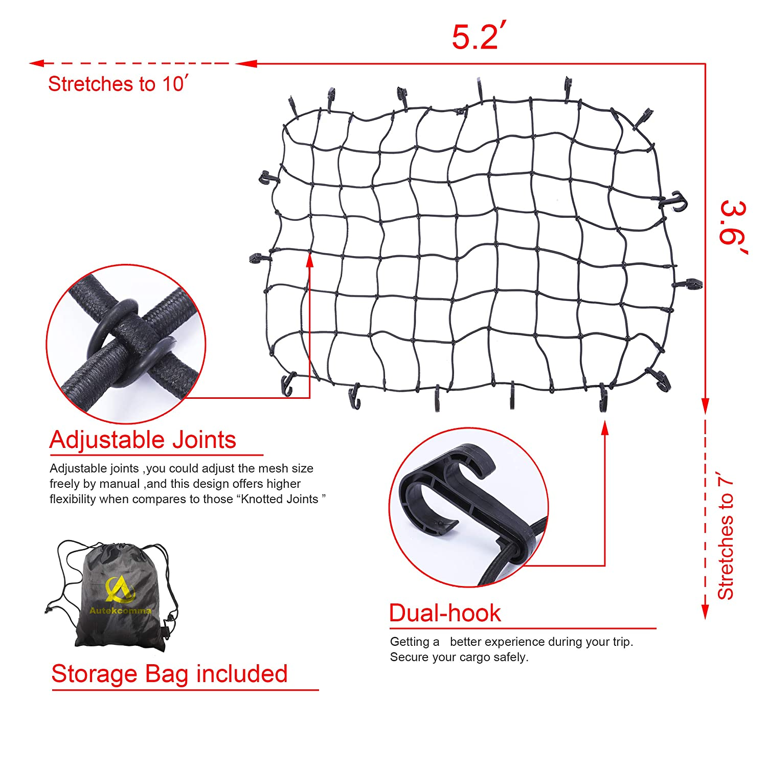 Autekcomma 3/'x4/' Stretches to 6/'x8/'.Heavy Duty Oversized Cargo net 4X4 Mesh 7MM Bungee Cord .12 x Aluminum Tangle 3x4 Feet Free D Carabiners .24 x ABS Hooks for Pickup Bed Truck Bed