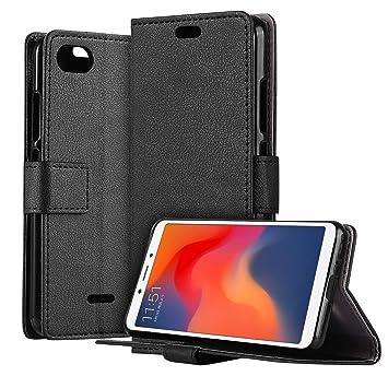 HDRUN Funda Xiaomi Redmi 6A - Prima Ultra Delgado Carcasa Libro de Cuero PU Tapa Billetera con Ranuras de Tarjeta Cierre Magnético Elegante Protección ...