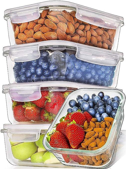 Prep Naturals Recipientes de Vidrio para Alimentos (Juego de 5 x ...