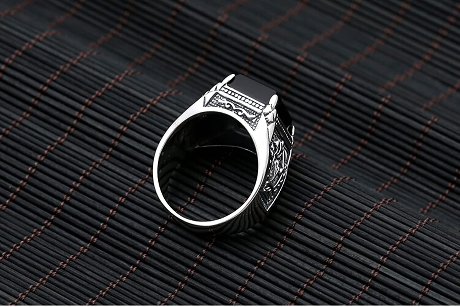 Bishilin S925 Sterling Silver Ring Band Black Agate Square Silver Black Men Rings Unique Size 10