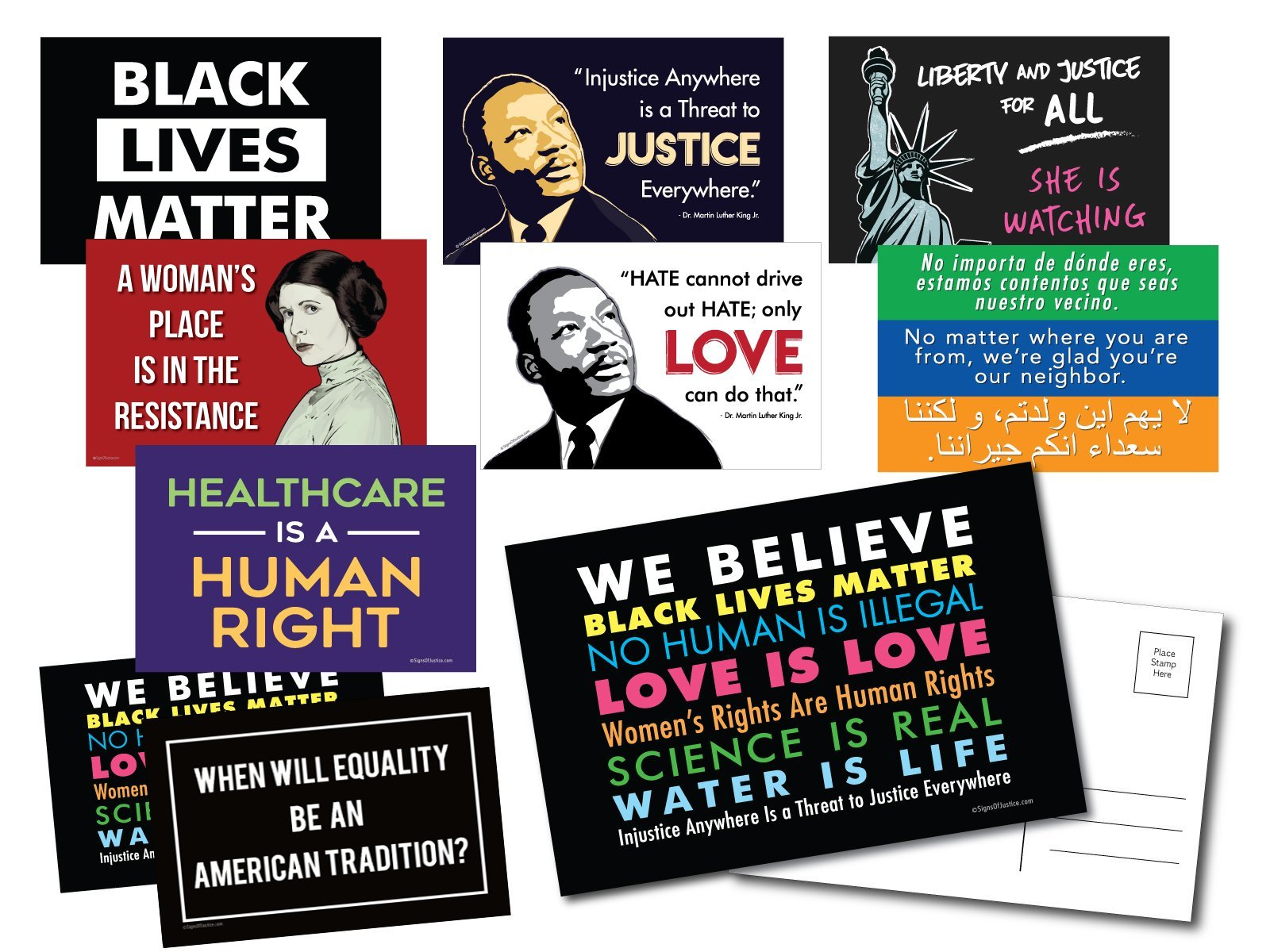 Postcards Social Justice Variety 10 Pack - We Believe, Black Lives Matter, MLK, Welcome Your Neighbors, Healthcare is a Human Right, Princess Leia Resistance, & more