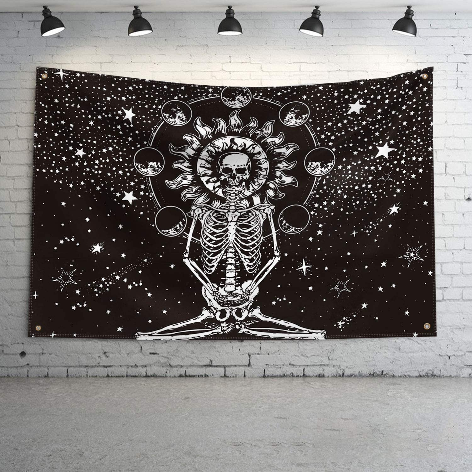 QOR Balance Halloween Decor Meditation Skeleton Wall Banner Skull Chakra Starry Wall Hanging Heavy Wind with Brass Grommets for College Dorm Room Man Cave Frat Wall Outdoor Flag 3x5 Ft