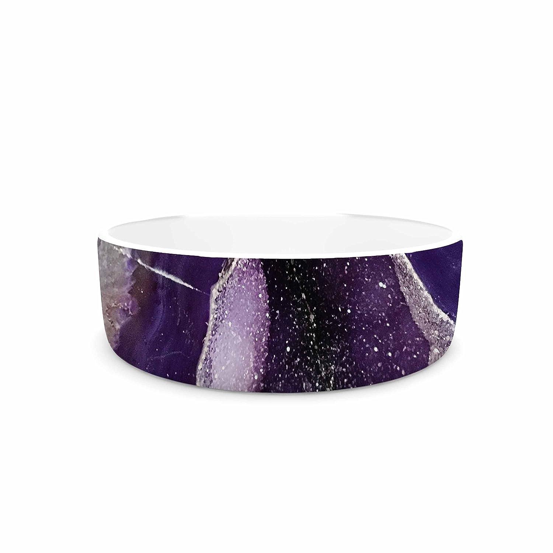 KESS InHouse Sylvia Cook Purple Quartz  Lavender White Pet Bowl, 7