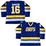Hanson Brothers Charlestown Chiefs 16 Jack 17 Steve 18 Jeff Slap Shot Movie Hockey  Jersey Blue 32d4ac2ed